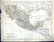 Old C1860 Lowry Map North America Mexico Caribbean Sea Lower Californ Victorian