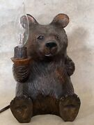 Amazing Black Forest Bear Lamp Wooden Shoe Button Eyes, 9 In.tall, 3 Lbs., C1950