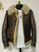 Real Mccoy's War Model B-3 Leather Mouton Jacket 38 Brown Free Shipping From Jp