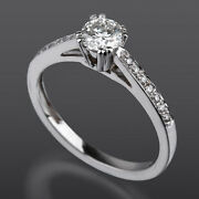 Colorless 14k White Gold Solitaire + Side Stones Diamond Ring Lady 1.24 Ct
