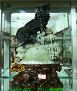 22 Exquisite China Natural Xiu Jade Carved Ferocious Wolf King Animal Statue