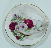 1950s Colclough England Dark Red And White Rose Floral Cup And Saucer Virtually Mint