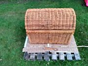 Vintage Wicker Woven Wood Trunk Chest Blanket Toy Shoe Storage Rustic Primative
