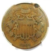 1864 Small Motto Two Cent Coin 2c - Pcgs Vg Details - Rare Small Variety