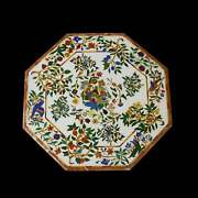 36and039and039 White Marble Table Top Center Corner Lapis Malachite Inlay Bird Antique Tr