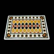 3and039x2and039 White Marble Table Top Stone Inlay Center Coffee Malachite Antique Jg