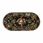 5and039x3and039 Black Marble Table Top Center Bird Pietra Dura Inlay Lapis Decor Antique