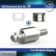 30x Ball Attachment 6mm And Silicon Cap And Metal Housing Rp For Dental Implant Lab