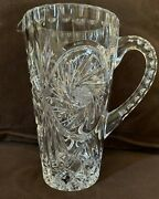 Vintage American Brilliant Heavy Cut Clear Glass Crystal Water Pitcher 8 Tall