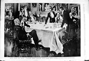 Antique Old Print 1900 Ogdesn Guinea Gcigarettes Men Smoking Table Meeting 20th