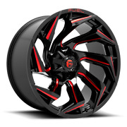 20x9 Black Red Rims Wheels Fuel Reaction 2007-2021 Jeep Wranglers 5x5 D755 +1mm