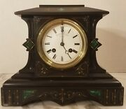 Shreve Crump And Lowe Antique Mantle Mantel Clock Slate And Inlaid Malachite
