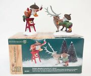 Dept 56 North Pole Woods Sissors Wizards Christmas Village 2 Figurines W/ Box