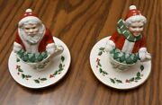 Lenox Santa And Mrs. Claus In Holly Tea Cup Christmas Salt And Pepper Shakers Set