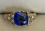 Stunning Antique High Carat Gold And Rose Cut Diamonds Unknown Blue Stone Ring