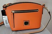New Dooney And Bourke Orange Domed Crossbody Leather Small Handbag With Tags