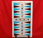 18x10 Marble Coffee Center Corner Side Backgammon Table Top Inlay Game