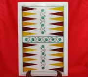 18x11 Marble Coffee Center Corner Side Backgammon Game Table Top Inlay