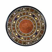 4'x4' Black Marble Coffee Dining Sofa Table Top Antique Inlay Mosaic Round