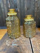 Set Of 2 Vintage Amber Atterbury Scroll Imperial Glass Canister Jars W/lid