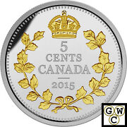 2015 Crossed Maple Boughs-legacy Canadian Nickel Prf 5ct Silver 1oz .999916964