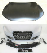 Rs7 Style Front Bumper Cover Grille Lower Spoiler Hood Set Fits 2012-15 A7 S7