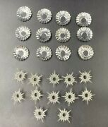 12 Vintage Christmas Light Silver Foil Reflectors And Clear Plastic Star Covers