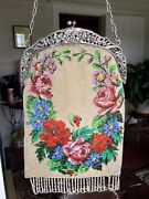 Antique Alpacca Beaded Purse Made In Germany