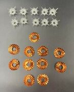 10 Vintage Christmas Light Orange Foil Reflectors And Clear Plastic Star Covers