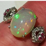 Gtl 925 Sterling Silver Opal Ruby And Cz Ring Anniversary Fine Jewelry J455