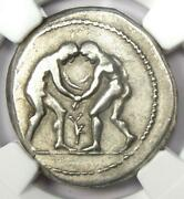 Pamphylia Aspendus Ar Stater Wrestlers Silver Coin 325-250 Bc - Ngc Choice Vf