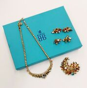 2 Sherman Earring Sets, Vintage Style Necklace And Brooch