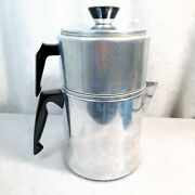 Vintage Mirro Aluminum 9 Cup Drip Coffee Maker Pot 0829 2 Tier Camping Stove Top