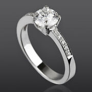 Solitaire And Accents Diamond Ring 1.1 Carats Round Shape Real 14k White Gold