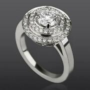 Certified Women 4 Prong Diamond Double Halo Ring Round 2.01 Ct 18k White Gold