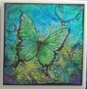 Handmade Natural Stone Ceramic Tile Drink Coasters - Set Of 6 - Butterfly 8d