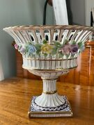 Rare Meissen Reticulated Applied Flowers Footed Vase Porcelain First Quality