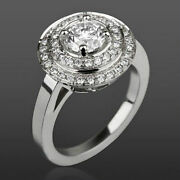 Anniversary Diamond Double Halo Ring Si2 D 2.13 Ct Lady Round 14 Kt White Gold