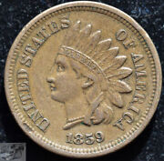 1859 Copper Nickel Indian Head Penny, Cent, Extremely Fine Details Scratch C5139