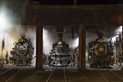 1946 Steam Locomotives In The Roundhouse, Railroad 13 X 19 Photo Print