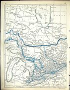 Antique Old Print C1860 Lowry Map Canada Jamesand039s Bay Lake Superior Ontario 19th