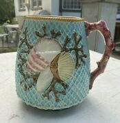 Vintage Antique English Fielding Majolica Sea Shell And Seaweed Pitcher