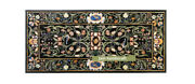 48and039and039x24and039and039 Black Marble Inlay Table Top Semi Precious Stones Home Decorative