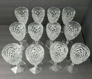 12 Fostoria American Water Goblets 7 With Hex Base