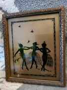 Vintage Small Framed Nymphs Dancing Silhouette Picture Signed Dancing Art Deco