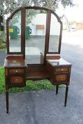 Art Deco 1900s Carved Inlay Makeup Vanity Dressing Table Tri Fold Mirror 2253