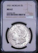 1921 P Morgan Silver Dollar Ngc Ms62 Frosty White Luster Pq Just Graded G117