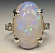 Fine Platinum With Large Opal Cabochon And Diamonds Ring Size 9