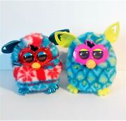 Hasbro Furby 2012 Lot Of 2 Teal Blue And Red Snowflake Design - Non Working