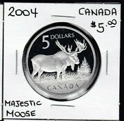 2004 Proof Canada Majestic Moose Silver 5 Five Dollars Coin